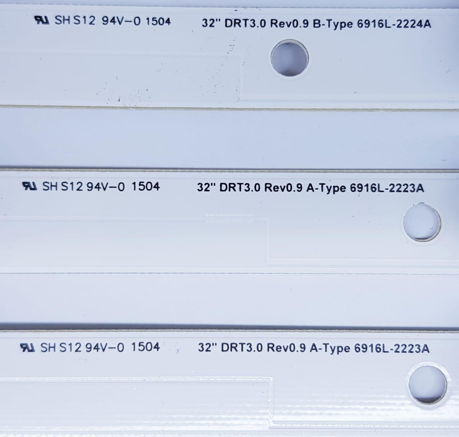 32 DRT3.0 REV0.9 A-TYPE , 6916L-2223A , 32 DRT3.0 REV0.9 B-TYPE , 6916L-2224A , EAY62334001 , EAY62334002 , UOT_A , UOT_B , LG , NC320DUN , 3 ADET LED ÇUBUK