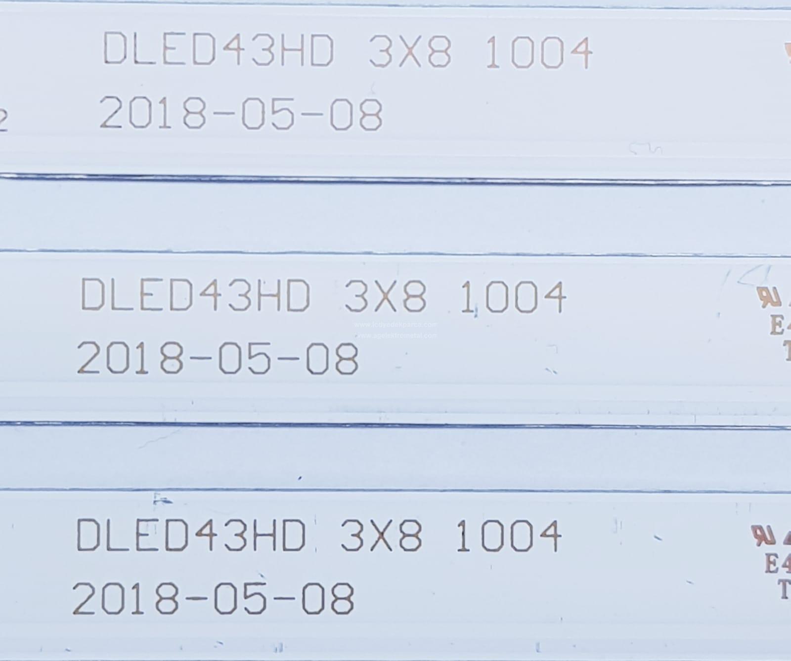 DLED43HD , 3X8 1004 , 2018-05-08 , M196/A3/J , NIKAI , KM0430LDLF00229 , NTV4300SLEDT , 3 ADET LED ÇUBUK